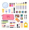 set makeup bag icons flat vector image vector image