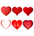 set of red hearts isolated on white background vector image