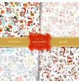 set of seamless snowmen patterns vector image vector image