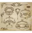 Set of vintage elements ribbons and emblem vector image vector image