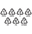 set recycling symbols for plastic vector image