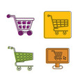 shop cart icon set color outline style vector image vector image