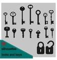 silhouette keys and locks vector image