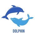 Silhouettes of the dolphins jumping vector image