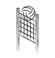 sketch draw volleyball net and ball cartoon vector image vector image