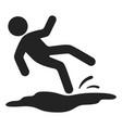 slipped man black icon wet floor danger vector image