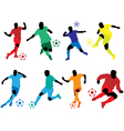 soccer silhouette color vector image vector image