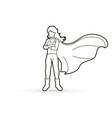 super hero woman standing with costume cartoon vector image vector image