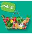 Supermarket basket of vegetables sale vector image vector image