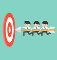 tiny businessmen carrying arrow to reach goal vector image vector image