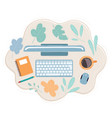 top view office workplace desk keyboard mouse vector image