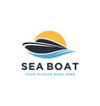 travel logo with boat sea and sun vector image