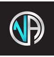 va initial logo linked circle monogram vector image vector image