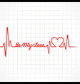 Valentine greeting with heartbeat vector image vector image