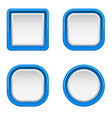 white interface buttons with blue frame vector image