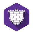 white shield with cyber security brick wall icon vector image vector image