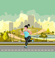 woman jogging in the park against the backdrop of vector image vector image