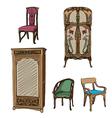 art nouveau furniture vector image