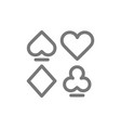 simple card suits line icon symbol and sign vector image
