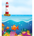 a light house fishes and coral in sea vector image vector image