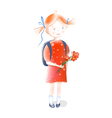 A Little Girl Going to School vector image