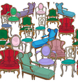 antique chairs pattern vector image vector image
