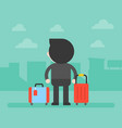 back side business man and luggage vector image