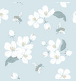blooming tree seamless pattern with flowers vector image