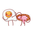 breakfast cute fried egg and pancake with jam vector image