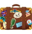 brown suitcase with label vector image vector image