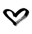 brush painted heart isolated on a white background vector image vector image