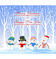 Cartoon funny snowman with winter background vector image vector image