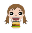 cartoon girl eating burger vector image vector image