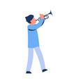 cartoon man playing trumpet artist vector image