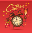 christmas greeting card cartoon alarm clock vector image vector image