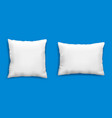 clean white pillows mockup isolated on blue vector image vector image