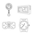 clock and time symbol set vector image