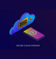 cloud storage - protection personal secure data vector image