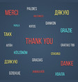colored lettering thank you in different languages vector image vector image