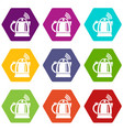 electric kettle icons set 9 vector image vector image
