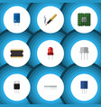 flat device set of memory receptacle transistor vector image vector image