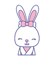 full color adorable and shy rabbit female wild vector image vector image