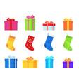 gifts and christmas socks various traditional vector image vector image