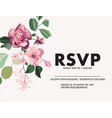 greeting card with wild roses eucaliphys leaves vector image