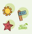 hello summer icons cartoons vector image