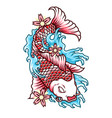 japan koi fish in tattoo style vector image
