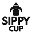 kid sippy cup logo simple style vector image