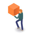 man take cube icon isometric style vector image