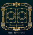 Ornament doodle border frames Set in vintage style vector image