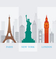 paris new york london landmarks vector image vector image